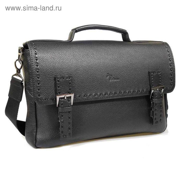 Портфель кожаный Pellecon 265, чёрный, 34x24.5x6 см, натуральная кожа