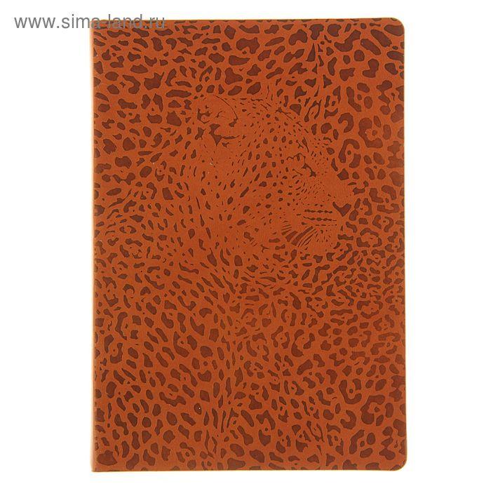 Ежедневник недатированный А5, 288 листов Maestro de Tiempo Leo термо-кожзам, коричневый, леопардовый рез