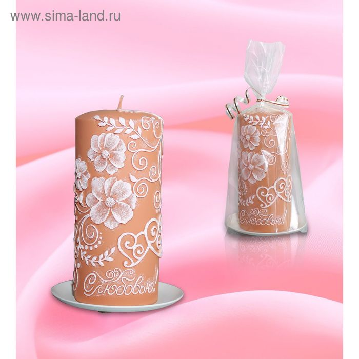 Свеча пенек цветочный карамельный