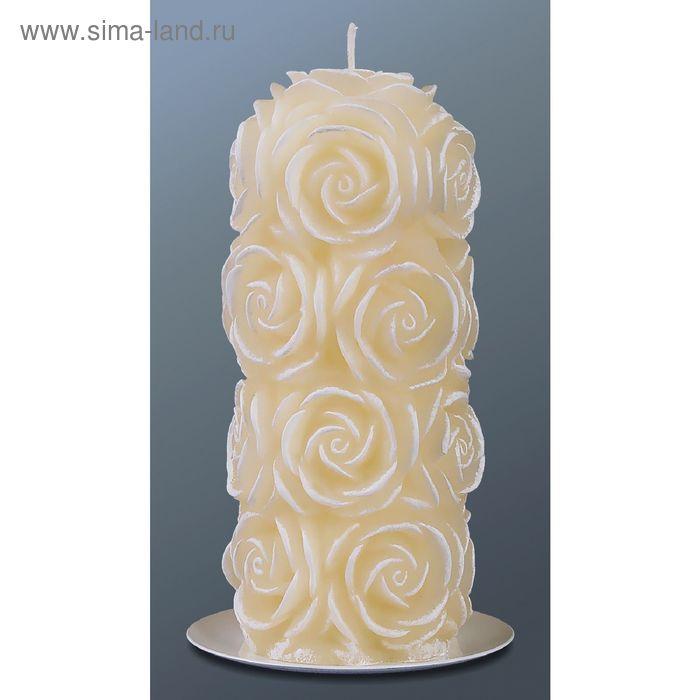 Свеча пенек в розах кремовый