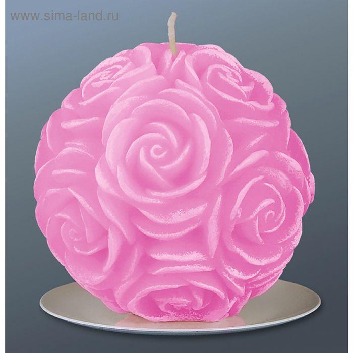 Свеча шар в розах розовый