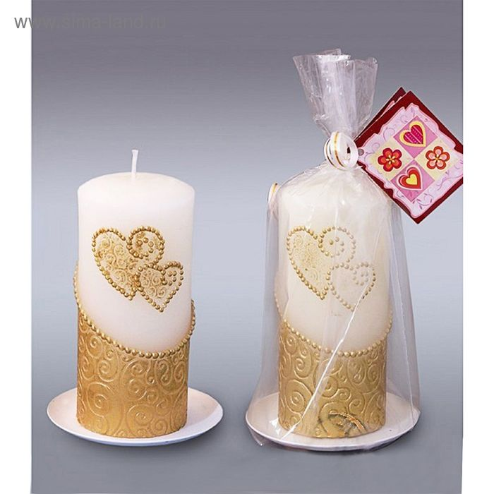 Свеча пенек два сердца золотой