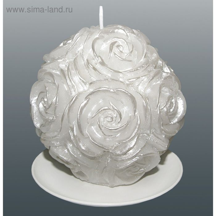 Свеча шар в розах белый