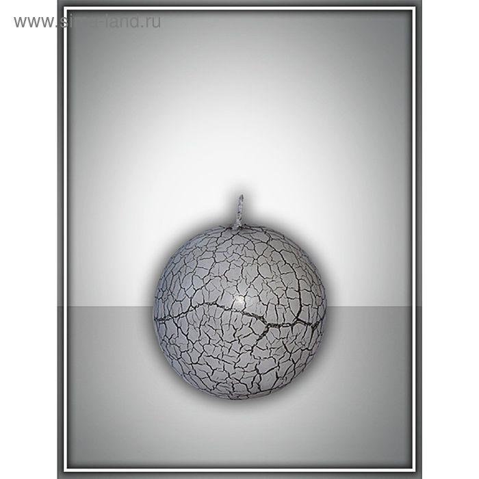 Свеча шар 80 с эффектом трещин (черная)