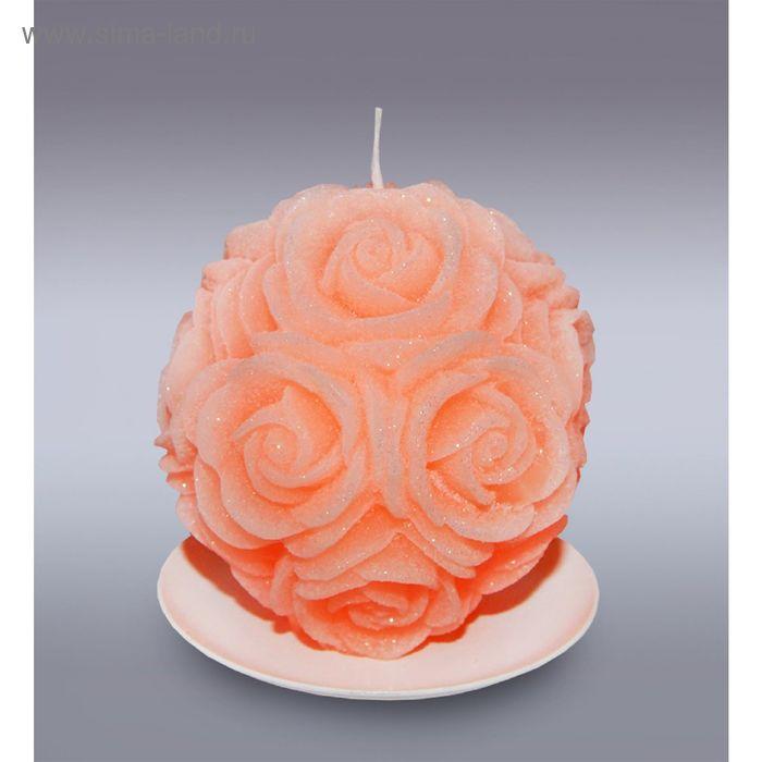 Свеча шар в розах оранжевый бархатный