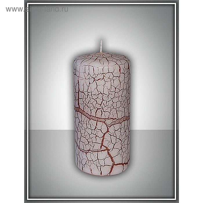 Свеча пенек 60х125 с эффектом трещин (красная)