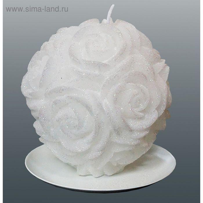 Свеча шар в розах белый бархатный