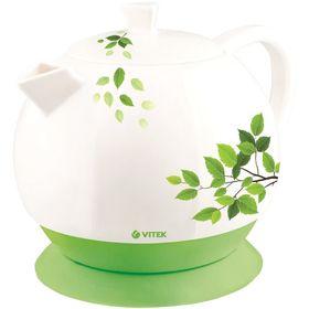 Чайник электрический Vitek VT-1171, 1800 Вт, 1.3 л, белый/зеленый