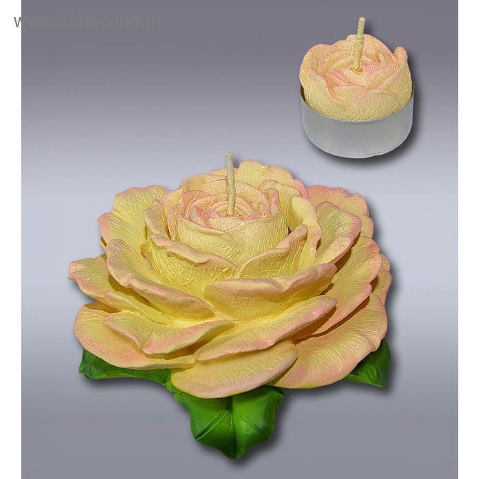 Подсвечник роза чайная со свечой