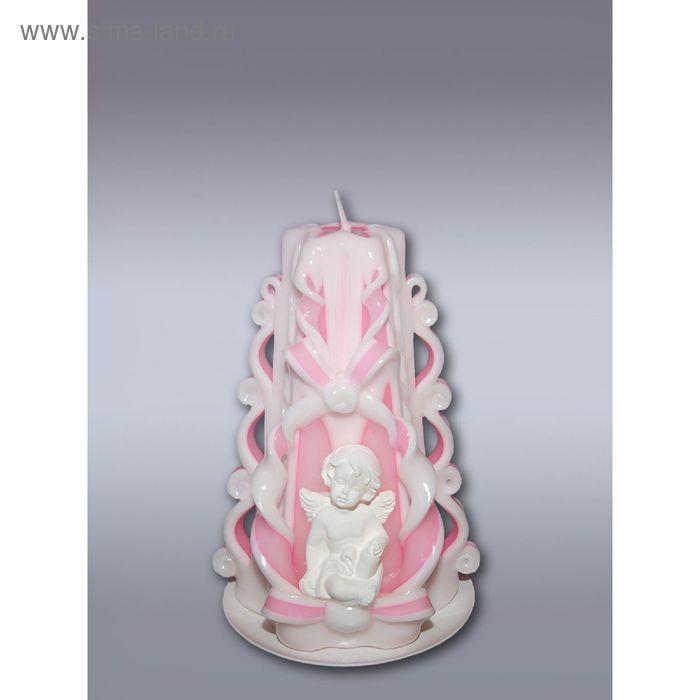 Свеча резная малая с ангелочком (розовая)