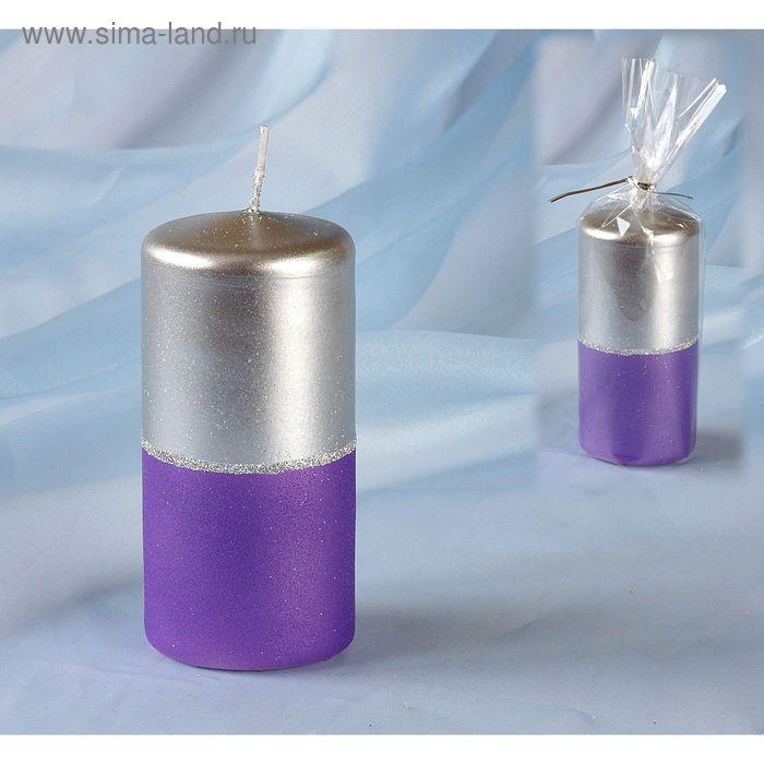 Свеча пенек 60х125 серебристо-сиреневая