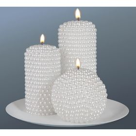 """Набор свечей """"жемчужный"""" белый"""
