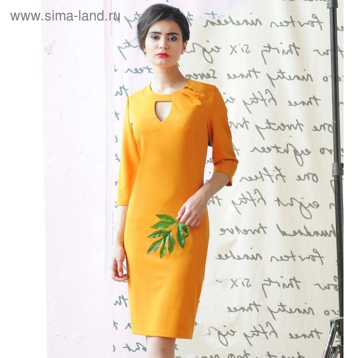 Платье 5101б, размер 48, рост 164 см, цвет горчица