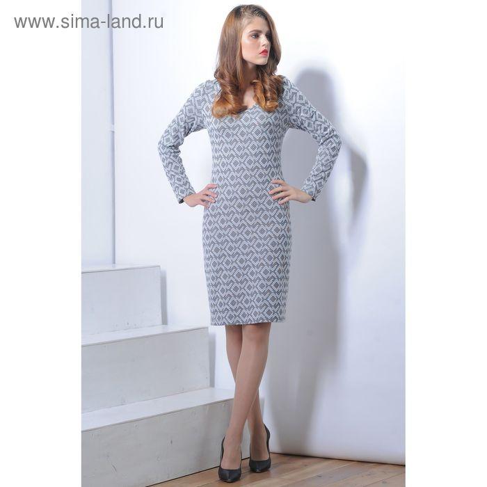 Платье 5113 С+, размер 52, рост 164 см, цвет серый/черный