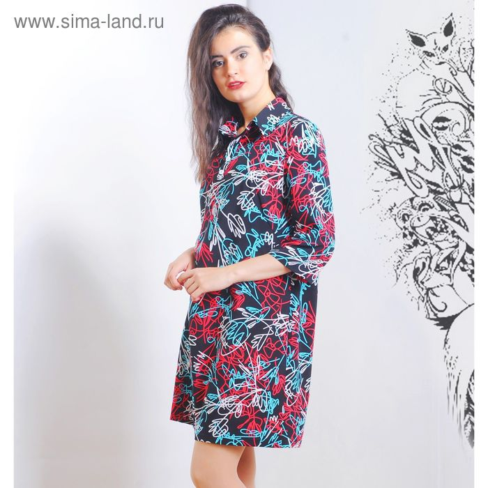 Платье 5117, размер 48, рост 164 см, цвет черный/белый/бирюза/красн