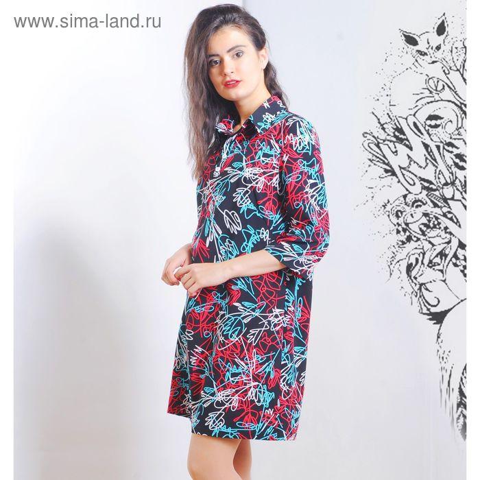 Платье 5117 С+, размер 50, рост 164 см, цвет черный/белый/бирюза/красн
