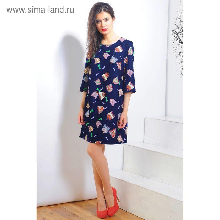 Платье 5119а, размер 48, рост 164 см, цвет т.синий