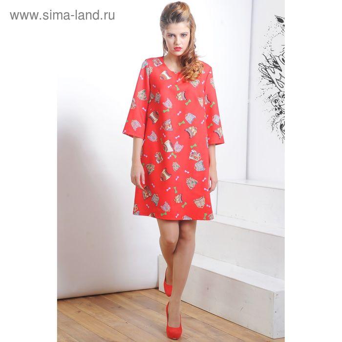 Платье 5119б, размер 48, рост 164 см, цвет красный