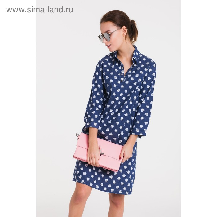 Платье 5114а, размер 46, рост 164 см, цвет синий (джинс)/белый