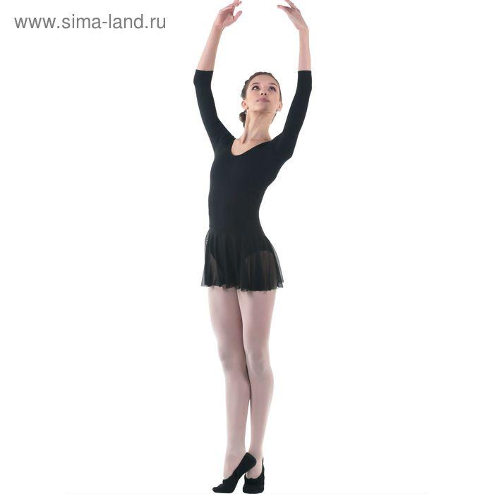 Купальник гимнастический, рукав 3/4, размер 26, цвет чёрный