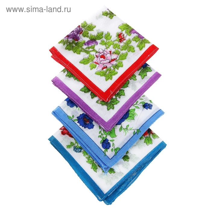 Платки носовые женские Средние цветы 28*28 см,(набор12 шт.,) цвета микс, 100% хлопок