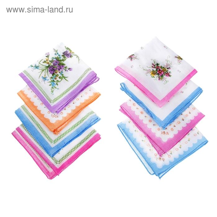 Платки носовые женские Мелкие цветы 28*28 см,(набор 12 шт.,) цвета микс,100% хлопок