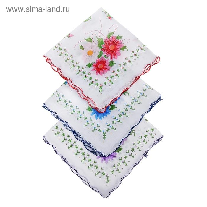 Платки носовые женские Цветы волна 30*30 см, 12 шт, цвета МИКС,100% хлопок