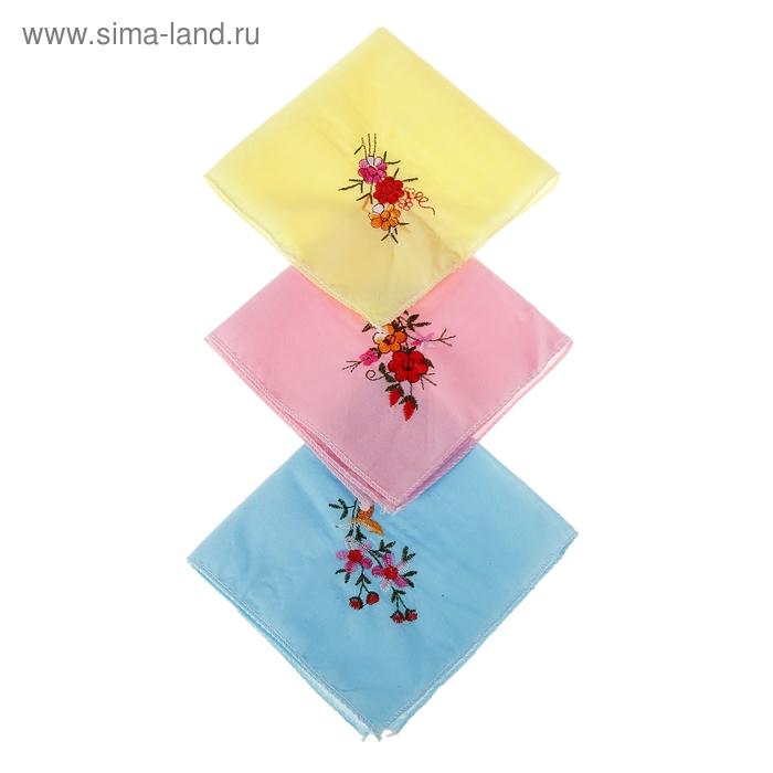 Платки носовые женские Весна 26*26 см, 12 шт, цвета МИКС, 100% хлопок