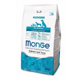 Сухой корм Monge Dog Speciality Hypoallergenic для собак, лосось с тунцом, 2,5кг