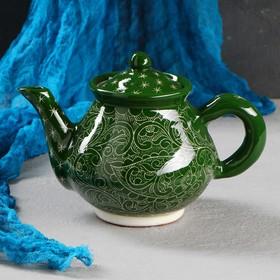 Чайник 0.7 л, риштанская роспись, зелёный