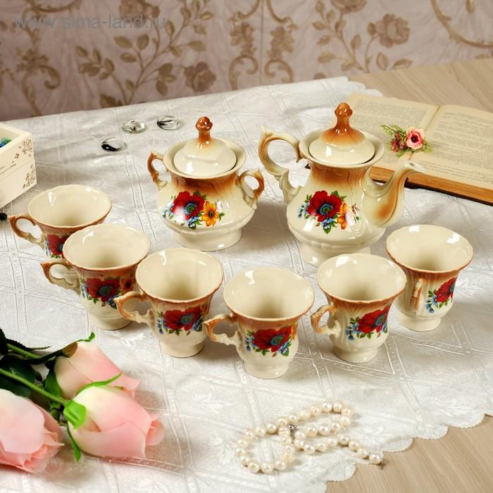 """Чайный набор """"Блиц"""" коричневый маки, 8 предметов 0,6/0,25 л"""