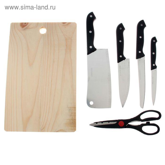 Набор 6 предметов: 4 ножа 11/15,5/15,5/17 см, ножницы, доска 32х20 см