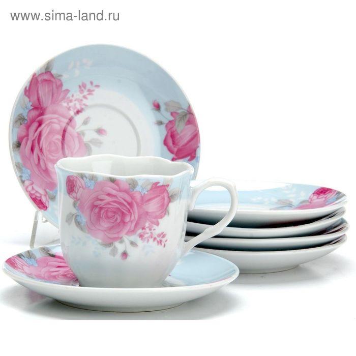 """Набор чайный, 12 предметов, """"Цветы"""", чашка 220 мл"""