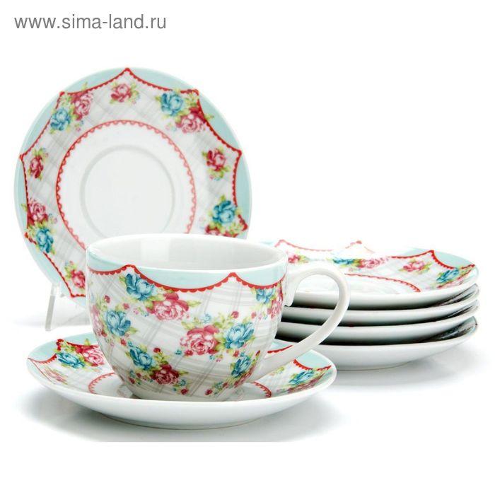"""Набор чайный, 12 предметов, """"Цветы"""", 220 мл"""