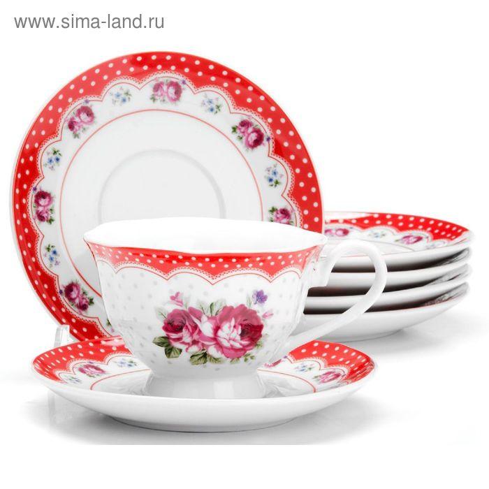 """Набор чайный, 12 предметов, """"Цветы"""", чашка 150 мл"""