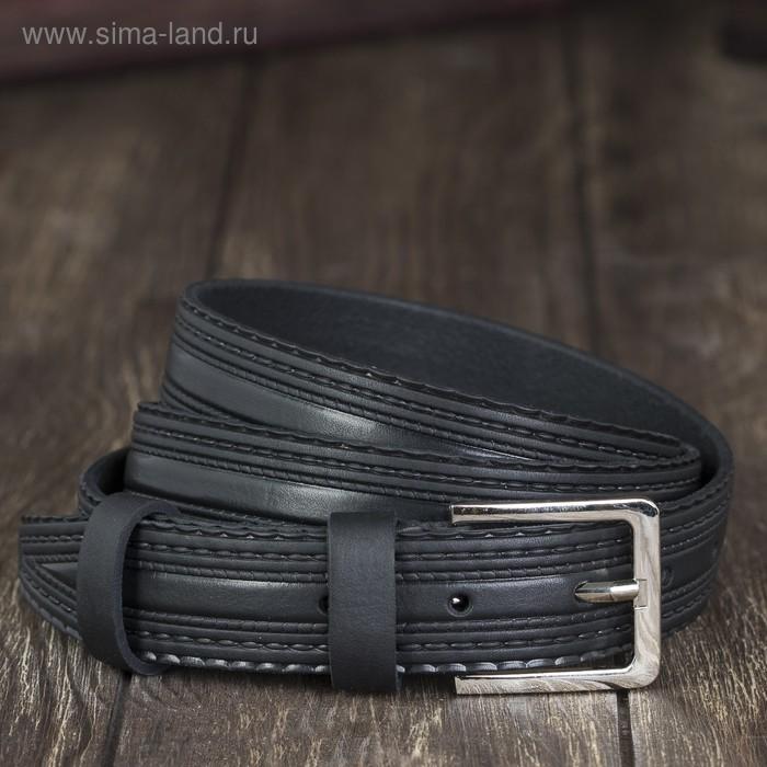 Ремень мужской, винт, пряжка под металл, ширина - 2,9см, чёрный