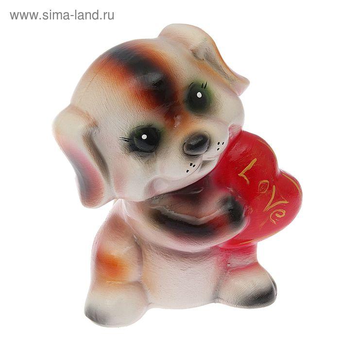 """Копилка """"Собака с сердцем"""" глянец, рыжая"""