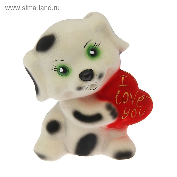 """Копилка """"Собака с сердцем"""" флок, белая"""