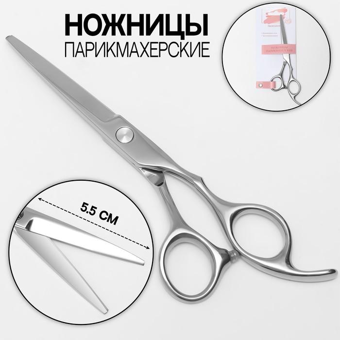 Ножницы парикмахерские с упором, 5,5 дюймов, цвет серебристый
