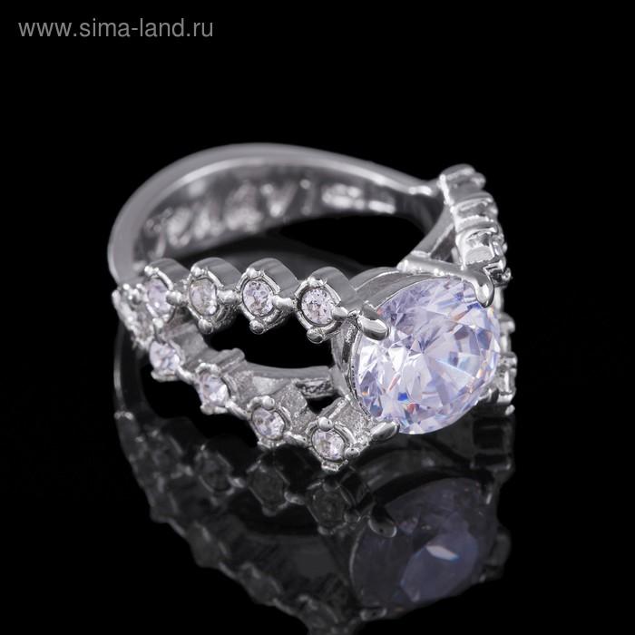 """Кольцо """"Ситара"""", размер 17, цвет белый в серебре"""