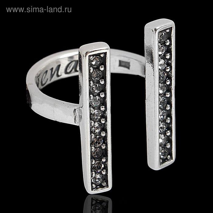 """Кольцо """"Ватмана"""", размер 16, цвет белый в чернёном серебре"""