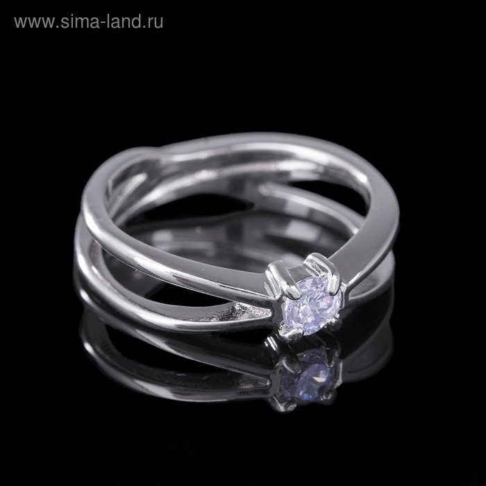 """Кольцо """"Притяжение"""", размер 18, цвет белый в серебре"""