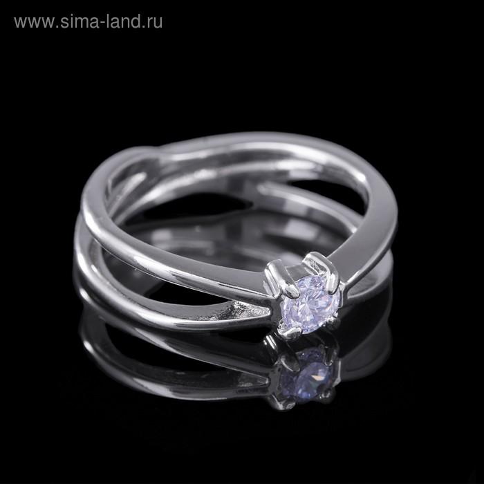"""Кольцо """"Притяжение"""", размер 19, цвет белый в серебре"""