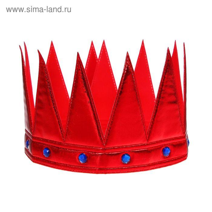 """Корона """"Царь"""" с камнями, цвет красный"""