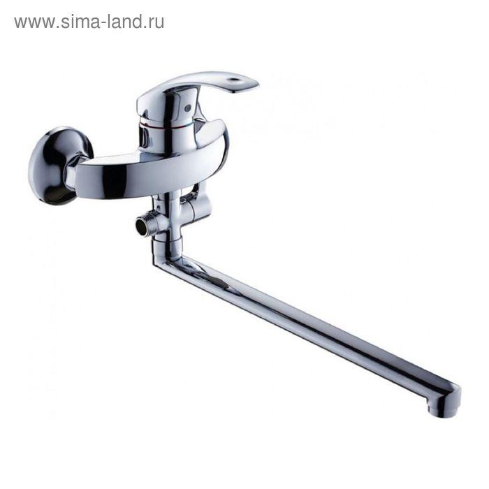 Смеситель для ванны GROSS AQUA Walls 7580580 С-35L (F), с длинным изливом, хром