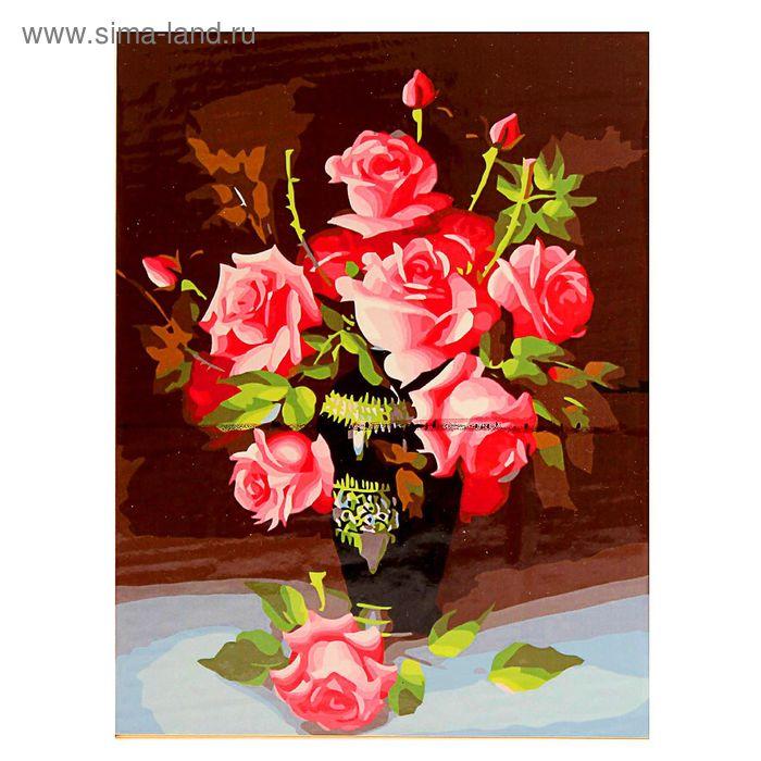 """Роспись по холсту """"Букет роз"""" по номерам с красками по 3 мл+ кисти+инструк-я+крепеж 40*50"""