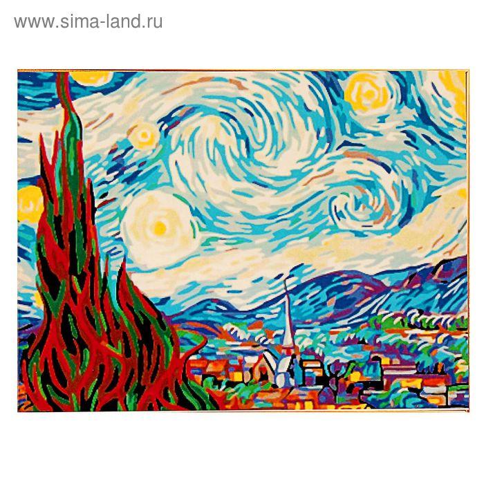 """Роспись по холсту """"Ван Гог Звездная ночь"""" по номерам с красками по 3 мл+ кисти+инструк-я+крепеж 40*5"""