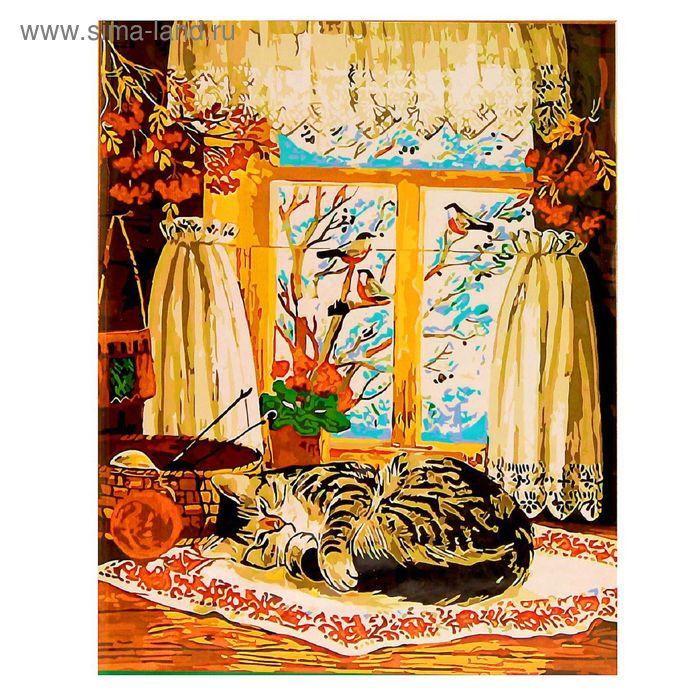 """Роспись по холсту """"Изба с котом"""" по номерам с красками по 3 мл+ кисти+инструк-я+крепеж 40*50 1379"""