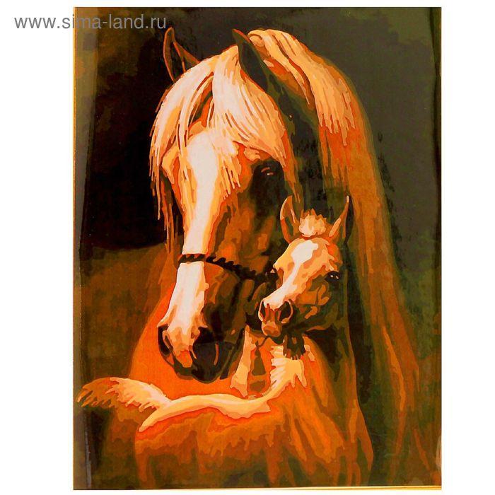 """Роспись по холсту """"Лошадь с жеребёнком"""" по номерам + краски по 3 мл + кисти + крепёж"""