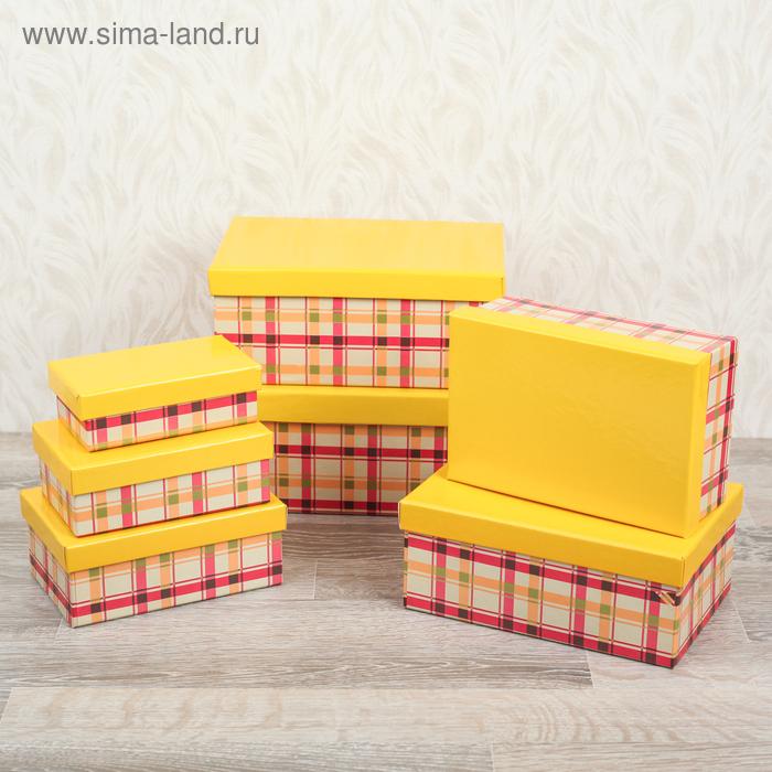 """Набор коробок 7в1 прямоуг """"Клетка ретро"""" (24,5*16,5*10,5-14*8*4,5), цвет жёлтый"""